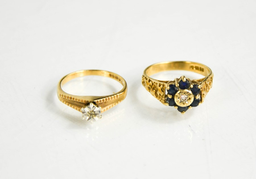 Two 9ct gold rings, one with diamond and sapphire set flower head size O, and the other having an