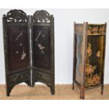 A Chinese bifold screen decorated with mother of pearl panels 90cm high together with a further