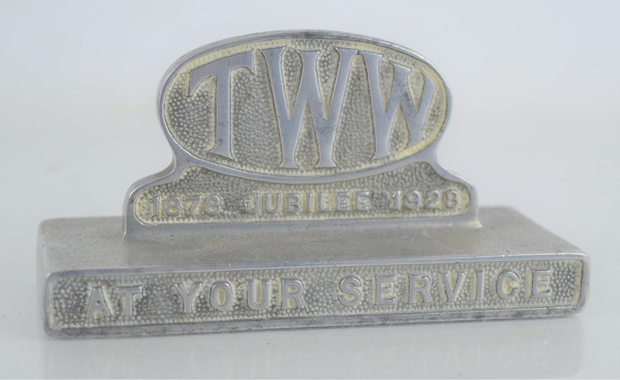 """A commemorative desk paperweight to mark the centenary of T.W.W """"Thos. W. Ward Ltd"""" 1878-1928,"""