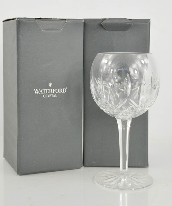 A pair of Waterford Crystal red wine glasses, in the original boxes.