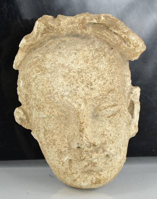 A rare Gandhara carved stone head, circa 2000BC 16cm high. - Image 2 of 6