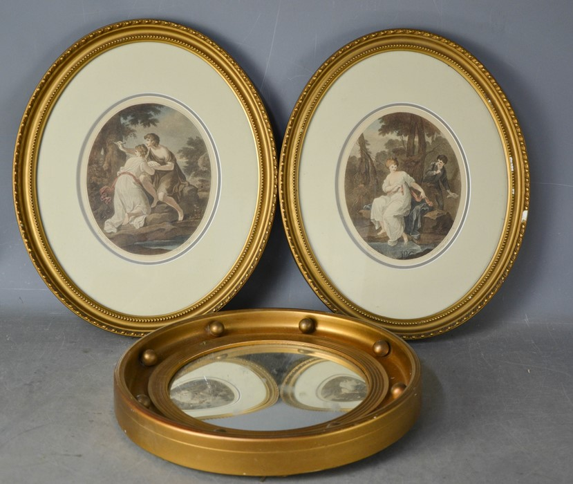 A porthole mirror, 37cm diameter, together with a pair of Bartolozzi coloured reproduction prints in
