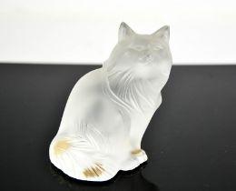 A Rene Lalique opaque glass cat, 9cms tall