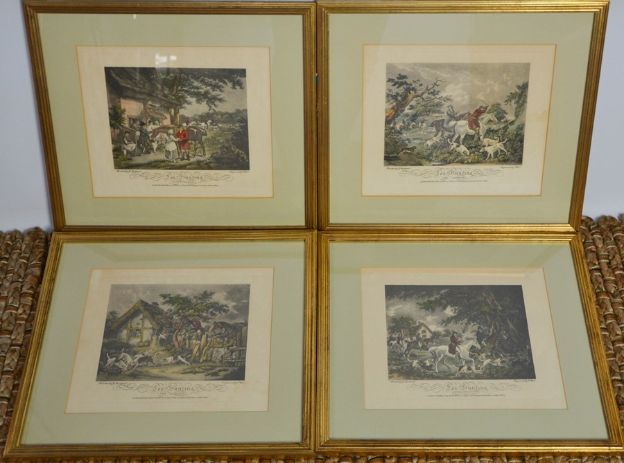 A set of four 19th century hunting prints, painted by G Morland, engraved and published, by E
