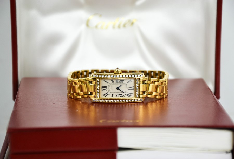 An 18ct gold and diamond Cartier wristwatch, in the Tank Americaine design, silver grained dial - Image 5 of 6