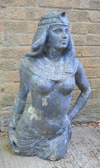 An Egyptian female garden statue, reconstituted stone. 81cms