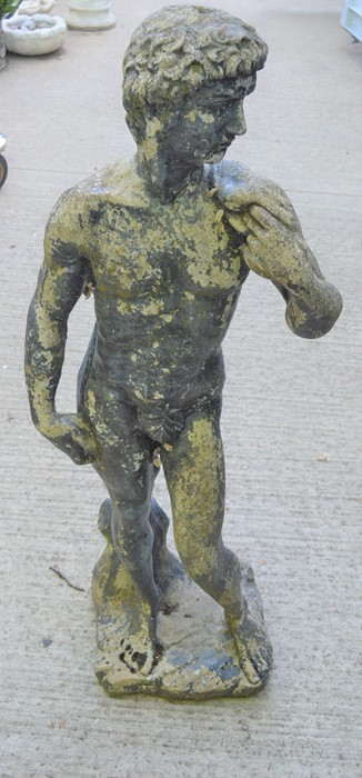 A Classical style garden sculpture, male figure, reconstituted stone, with patination. 130cms
