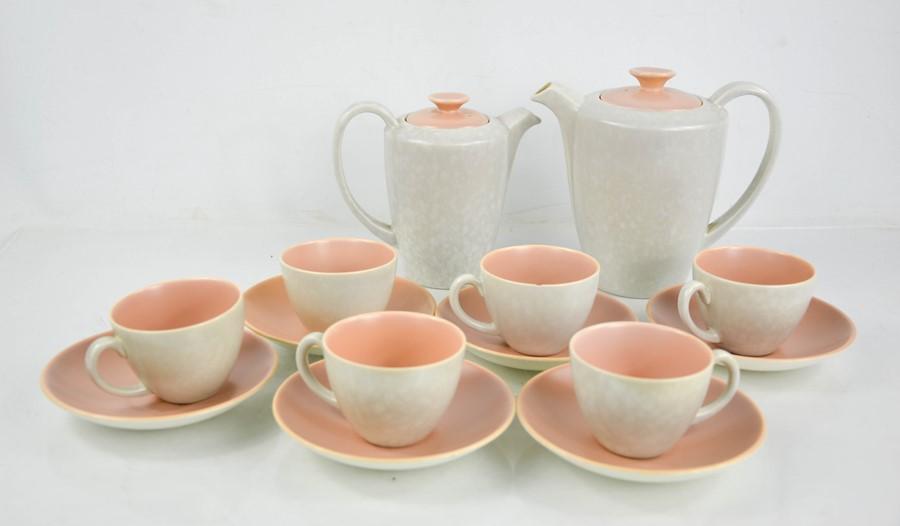 A Poole pottery part tea service, in peach.