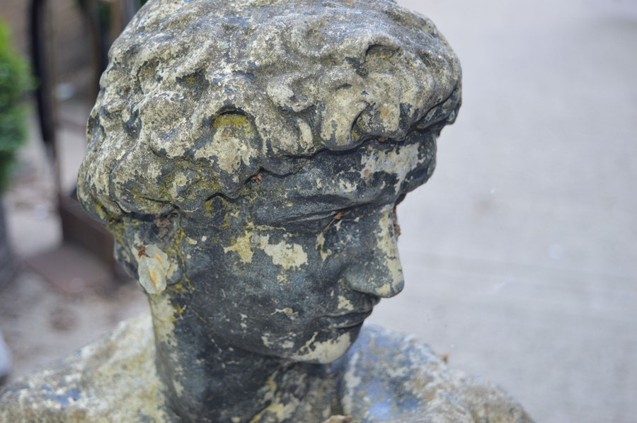 A Classical style garden sculpture, male figure, reconstituted stone, with patination. 130cms - Image 2 of 2