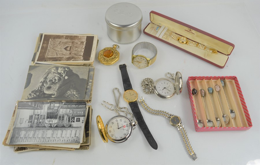 A group of collectibles to include pocket watches, Raymond Weil gold plated watch, Gucci quartz
