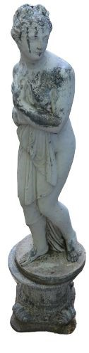A Classical style garden statue on plinth, female figure. 158cms