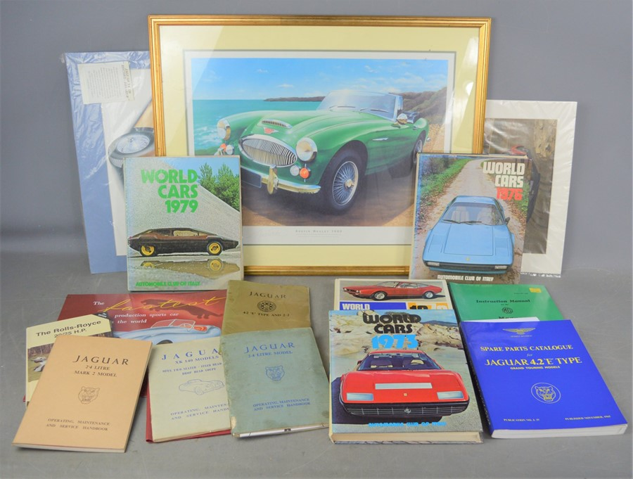 A group of motorcar related books and manuals to include Jaguar E-Type, mark 1 2.4 and XK 140