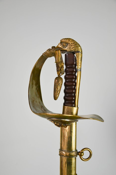 An RAF dress sword with brass hilt, complete with dust sheet, and leather scabbard, with applied RAF - Image 5 of 7