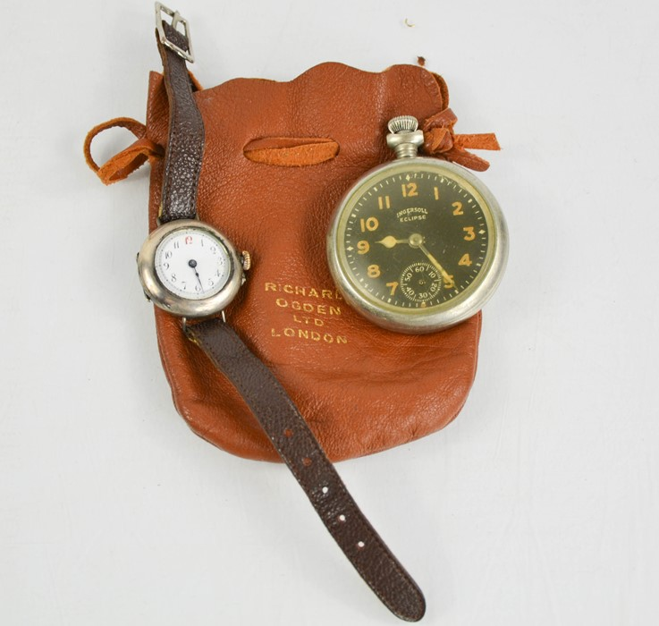 A 1930s silver cased wristwatch with arabic dial and leather strap, together with an Ingersol
