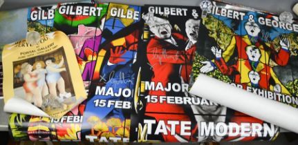 Two sets of Gilbert & George Exhibition posters for the Tate Modern, signed by Gilbert and George,
