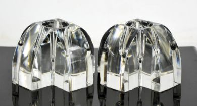 A pair of Baccarat crystal candlesticks. 6cms high