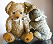 Two vintage toys, a teddy and rabbit