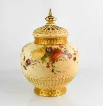 A Royal Worcester pot pourri vase and cover, painted with summer flowers on a blush ivory ground,