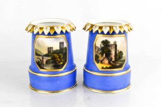 A pair of early Crown Derby vases, painted with named views of Hade Hall, Derbyshire and a View Nr