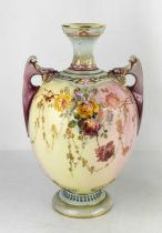 A Royal Worcester vase, painted with flowers to a cream and purple ground, with twin purple