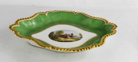 A 19th century Worcester Flight Barr & Barr shaped oval dish decorated to the centre with an