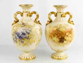 A pair of Royal Worcester porcelain vases, circa 1890, of ovoid form, the fluted necks with