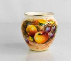 A Royal Worcester vase, painted with fruits and signed, 7cm.
