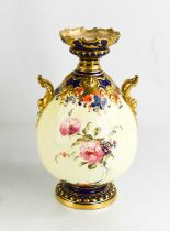 A Royal Crown Derby pedestal vase, painted with roses, with twin scroll handles circa 1908, 19cm