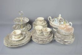 A part harlequin dinner service comprising Myott soup tureen and cover in the Country Life