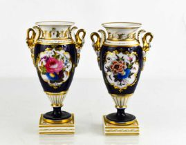 A pair of Chamberlain Royal Worcester pedestal vases, campana shape painted with flowers, cobalt