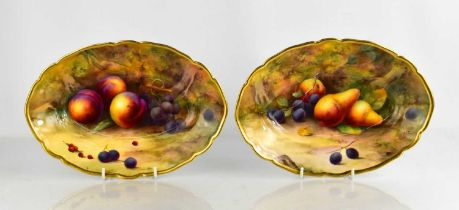 A fine pair of Royal Worcester oval bowls, by Horice Price, painted with pears, grapes and peaches
