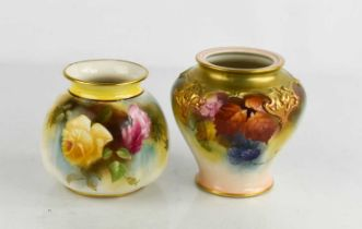 A Royal Worcester squat panelled vase painted with yellow and red roses, date code 1908, 9cm high,