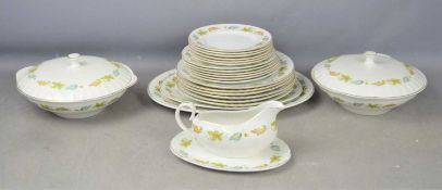 A vintage Sherwood Ridgway part dinner service in the White Mist pattern comprising two vegetable