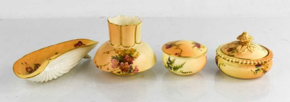 Four pieces of Royal Worcester, to include two trinket boxes, shell form dish and squat vase, all