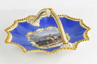 A Worcester flight Barr & Barr porcelain basket, circa 1830, of fluted oval form, with an overhead