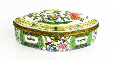 A Victorian polychrome porcelain box, of oval form, depicting bird amidst flowers to the lid, 19cm