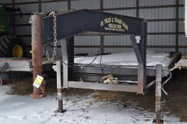 "2007 27' + 5' Progressive gooseneck trailer, 102"" wide, pop up beaver tail, slide in rear ramps,"