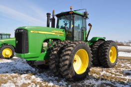 John Deere 9220 tractor, 4WD, 520/85R42 duals, power shift, rear wheel wts, 4 hyd remotes, 3pt,