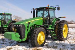 John Deere 8430 tractor, MFWD, 480/80R50 duals, 420/85R34 front, power shift, front fenders, front