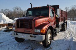 1995 International 4900 grain truck, DT466, 6+1 trans, 16' Knapheide bed, 25 ton hoist, grain chute,