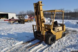 TCM forklift, gasoline, 7.00-12 front duals, 6.90/6.00-9 rear, 2 stage mast, NON-RUNNING