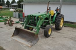 John Deere 5410 tractor, 2WD, w/ 520 loader, 16.9-30 rear tires, 11 L 15.5 front tires, 4090 hrs