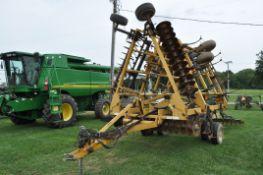 25' Landoll soil finisher, hyd fold, 5 bar harrow, rear hitch, hyd walking tandems