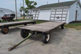 20' Flat rack hay wagon, John Deere 1065 gear, 11L-15 tires, oak beds