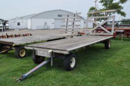 20' Flat rack hay wagon, Kiln rod 10 ton gear, pressure treated lumber bed