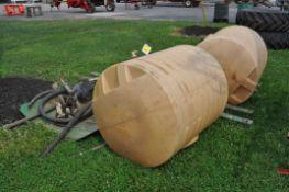 (2) 200 gallon Universal saddle tanks w/brackets and 1000 PTO chemical pump