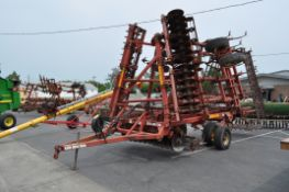 26' Sunflower 6332 soil finisher, front disk w/ reel, sweeps, 5 bar spike tooth harrow