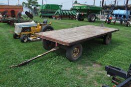 John Deere 953 gear, flat rack wagon, w/ hydraulic hoist