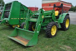 John Deere 6420L MFWD tractor w/ JD 640 self-leveling loader, shows 3648 hrs