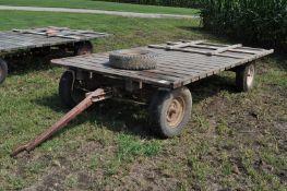 "14' x 7' flat rack hay wagon, Montgomery Ward 3000 gear, 15"" tires"